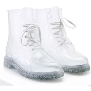 Clear Combat boots silver glitter bottoms